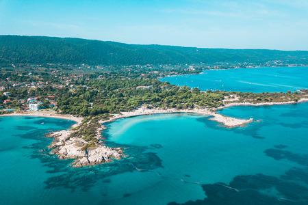 Aerial view of a Caridi beach in Halkidiki, Greece