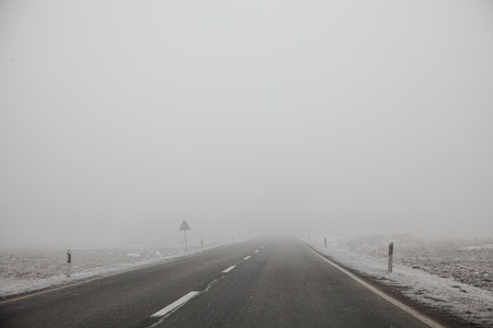 Empty road in cold winter