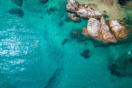 Aerial view of the rocky coastline by the sea Zdjęcie Seryjne