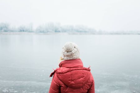 Back view of a woman looking at a frozen lake in winter morning