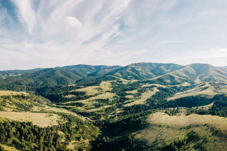 Aerial view of a beautiful mountain range of Zlatibor, Serbia