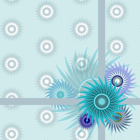 stylization: Seamless pattern with stylization blue flowers on the pattern background. Illustration from set.
