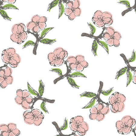 stamens: Seamless pattern with stylization apple twig on the white background.Set with apple twig