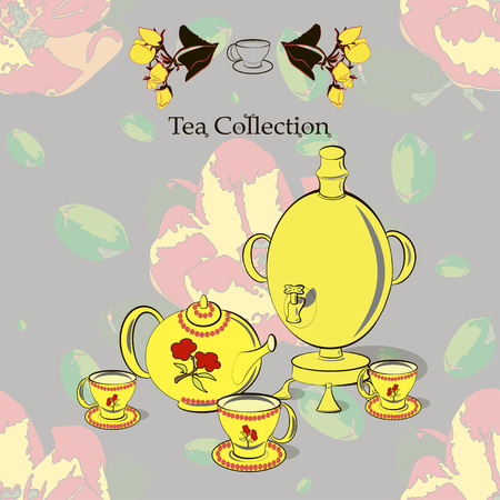 Tea set with samovar on the seamless pattern with apple flowers in Russian style  and pop art. Tea collection. Vector