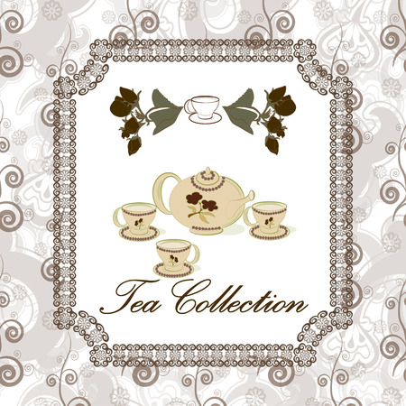 Tea set on the seamless pattern in vintage or classic style. Tea collection. Vector
