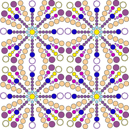 ultramarine blue: Seamless pattern with colored points and circles. Pattern from set