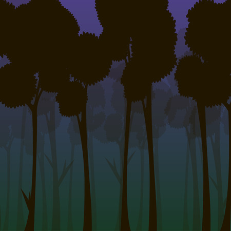 Forest at night vector illustration with stylized trees