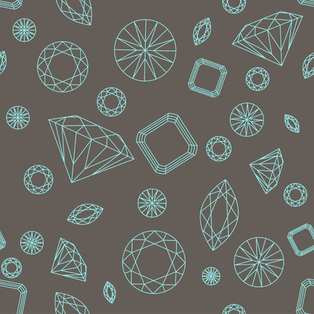 dearly: Seamless pattern with different diamonds on the brown background Illustration