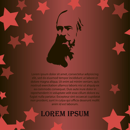 lenin: Vector men as symbol of red revolution. Illustration of grandfather on red and black background with stars