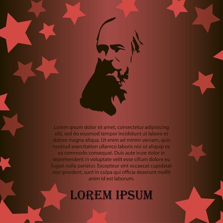 Vector Menschen als Symbol der roten Revolution. Illustration der Großvater auf roten und schwarzen Hintergrund mit Sternen Vektorgrafik