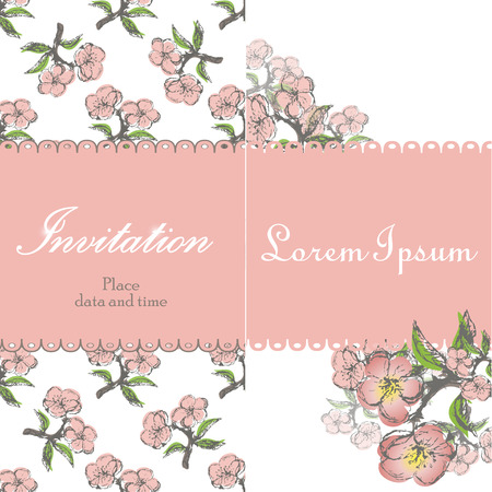 a twig: Beautiful floral invitation card with stylization apple twig on the white background. Vintage vector illustration Illustration
