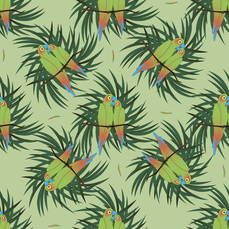 perch: Seamless pattern with two colourful parrot bird sitting on the perch with palm leaves.