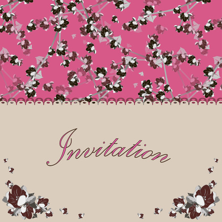 saturated: Beautiful floral invitation card with stylization apple twig and floral pattern on the floral background. Vintage saturated color vector illustration