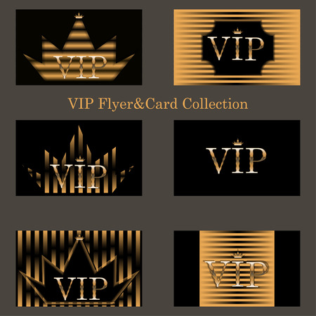 vip: Vector set of horizontal  VIP cards with golden foil ornate emblem, striped texture and sparkles. Premium templates for web or printed media design. Illustration