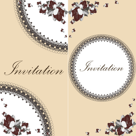 illustration invitation: Beautiful floral invitation card with apple flowers on the coffee color background. Vintage vector illustration