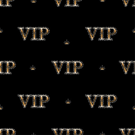 costumer: Seamless pattern background golden text VIP with shines diamonds on black background