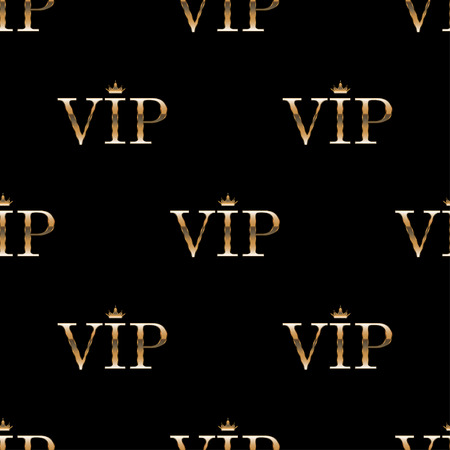 costumer: Seamless pattern background golden text VIP on black background. Premium templates for web or printed media design.