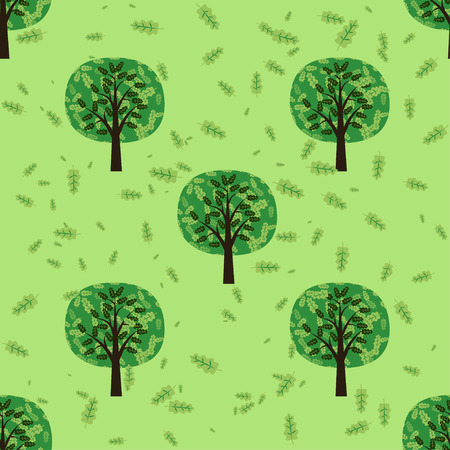 oak leaves: Seamless pattern with oak forest trees and oak leaves. Cartoon vector illustration.