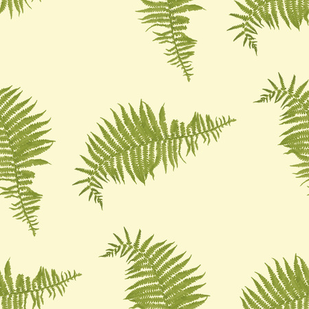плоть: Бесшовные шаблон с листьев папоротника на телесный цвет фона. Векторная иллюстрация Иллюстрация