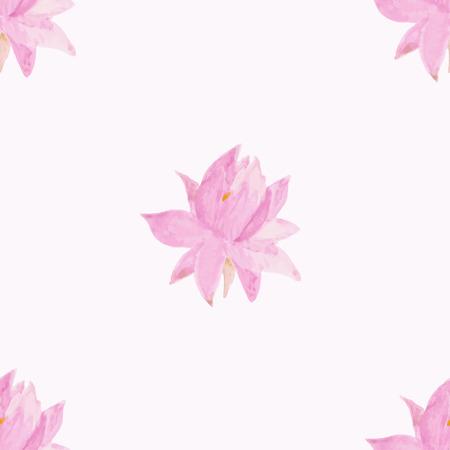 lotus flowers: Seamless pattern with romantic flowers lotus. Watercolor Vector Illustration. Romantic decor Illustration