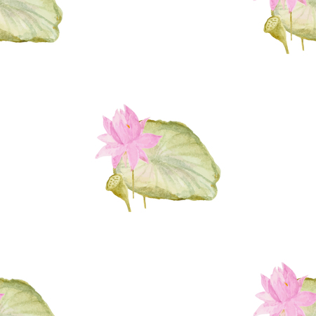 buds: Seamless pattern with romantic flowers lotus. Watercolor Vector Illustration. Romantic decor Illustration