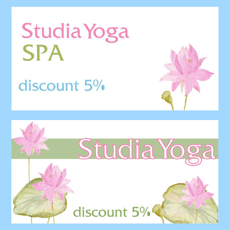 busness: Flyer card with flowers lotus for Yoga, SPA and others. Watercolor Vector Illustration. Romantic decor