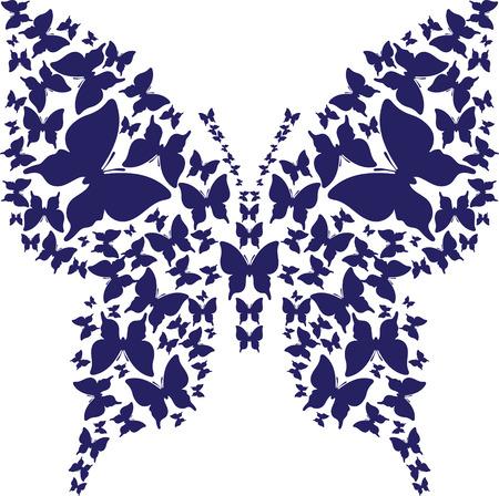 白い背景の暗い青蝶から抽象的なステンシル対称概要蝶。