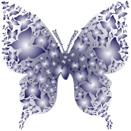 asymmetry: Abstract stencil asymmetry blue outline butterfly from white butterflies. Illustration