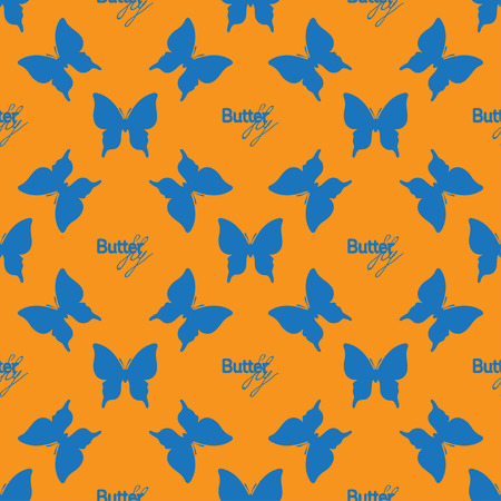 outline blue: Seamless pattern with outline blue butterflies Illustration