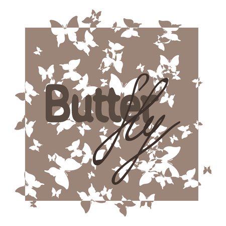 brown: Abstract exclusive brown text butterfly
