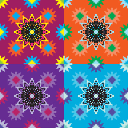 Four seamless pattern design with ornament beautiful  circle element - flower lotus. Perfect pattern for any other kind of design, mehndi, yoga, india, arabic 일러스트