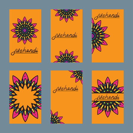 Six design of flayer for mehndi and card with ornament beautiful  circle element - flower lotus. Perfect cards for any other kind of design, mehndi, yoga, india, arabic