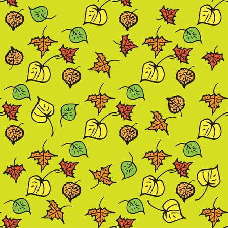autumn leaves background: Seamless pattern with autumn leaves - orange, yellow and green cartoon leaves. Vector background illustration.