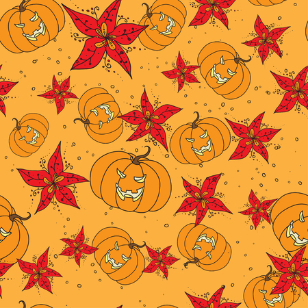 stylization: Seamless pattern with Halloween outline pumpkin and red stylization flowers on orange background. Cartoon vector illustration for holiday, seamless background