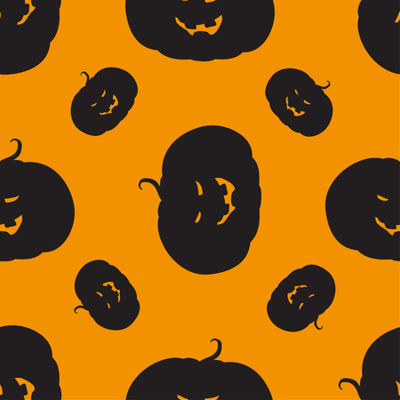 black shadow: Seamless pattern with black shadow Halloween pumpkin on orange background. Cartoon vector illustration for holiday, seamless background Illustration