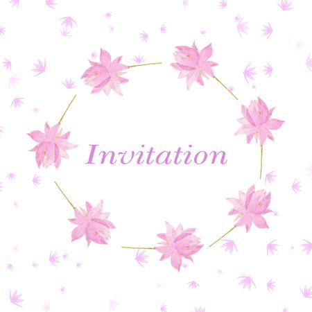 romantic: ackground for invitation cart with romantic flowers lotus. Watercolor vector Illustration. Romantic decor