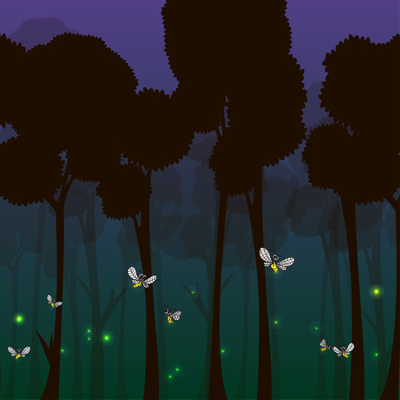 Cartoon fireflies in the forest at night - vector illustration. Illustration