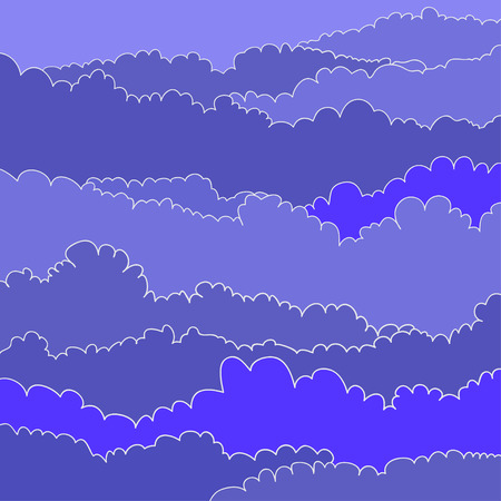 Cartoon colored drawing clouds. Vector Concept Background.