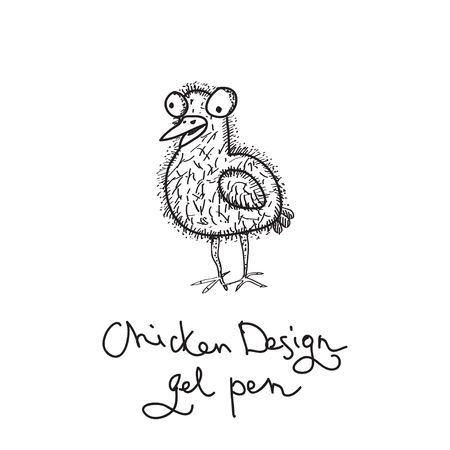 chuck: Vector doodling outline chicken on white background. Illustration for sketch Illustration