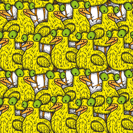 cartooning: Seamless pattern with doodling colored chicken. Vector illustration Illustration
