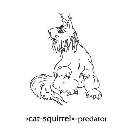 predator: Fantasy predator doodling outline cat-squirrel. Vector illustration.