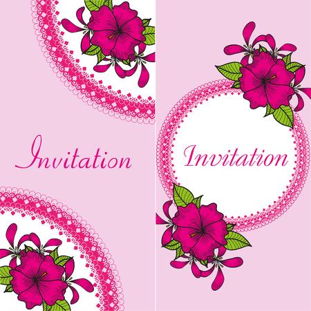illustration invitation: Floral invitation card with bright drawing pink flowers on the pink color background. Vintage vector illustration Illustration