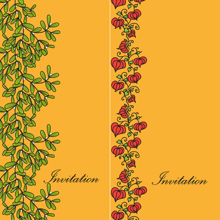 a twig: Two design card with mistletoe twig and physalis. Vector doodle illustration