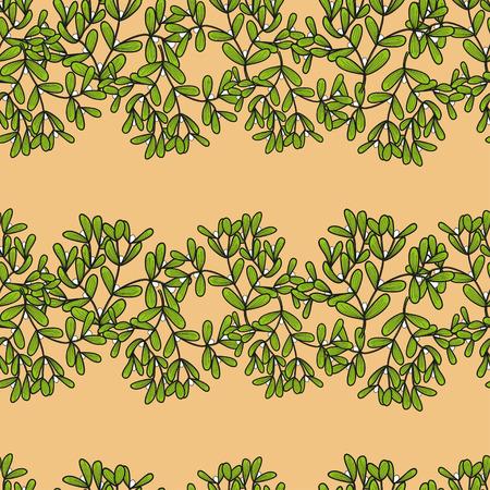 twigs: Seamless pattern with horizontal mistletoe twigs. Vector doodle illustration