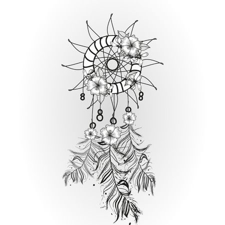 Doodle dreamcatcher on white background. Vector illustration