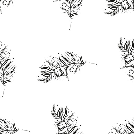 swelled: Seamless  pattern with feathers for your greeting card ot fabric print. vector illustration