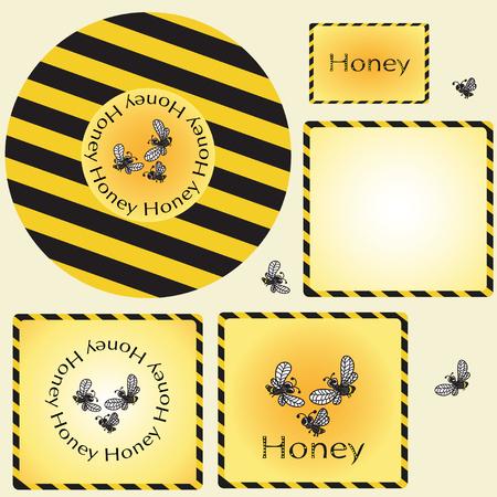 Design sticker and label for honey.Vector illustration