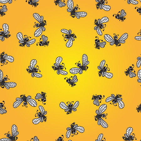 honeyed: Seamless pattern with doodle bees on yellow background.Vector illustration