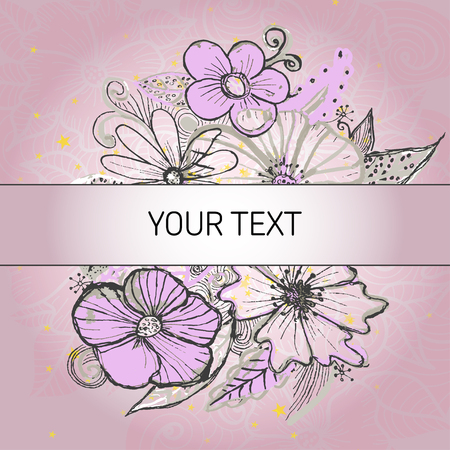 text field: Background with pink vintage flowers and text field. Vector illustration