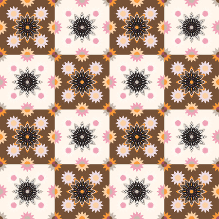Seamless pattern design with ornament. Perfect chess pattern for any other kind of design, mehendi, yoga, india, arabic